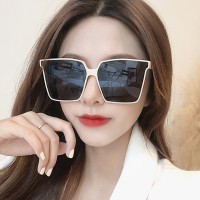 Oversized Retro Square Flat Sunshade Sunglasses - Black And White