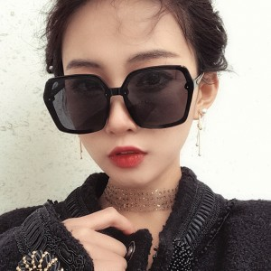 Girls Suqre Oversize Frame Wild Sunglasses - Black Pink