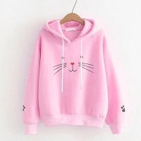 String Closure Hoodie Long Sleeves Top - Pink