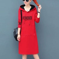 Alphabetic Printed Hoodie Mini Length Hoodie Dress - Red