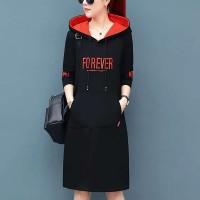 Alphabetic Printed Hoodie Mini Length Hoodie Dress - Black