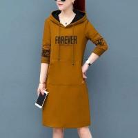 Alphabetic Printed Hoodie Mini Length Hoodie Dress - Brown