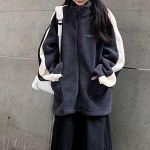 Stand Neck Zipper Closure Outwear Winter Jacket - Light Gray