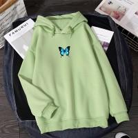 Loose Wear Butterfly Print Winter Season Hoodies - Green