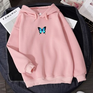 Loose Wear Butterfly Print Winter Season Hoodies - Pink