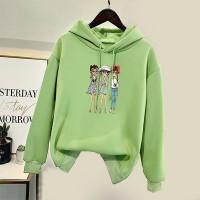 Girls Printed Casual Wear Hoodie Top - Green