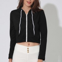 Plain Zipper Closure Casual Wear Mini Jacket - Black