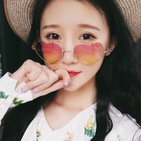 Women Gold Heart Frame Fashion Sunglasses - Pink