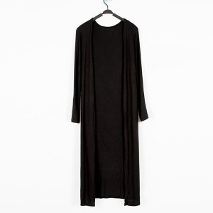 Full Sleeves Midi Length Solid Color Outwear Cardigan - Black