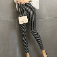 Striped Button Closure Narrow Bottom Body Fitted Trousers - Black