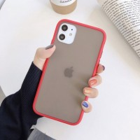 Safe Frame Thin TPU Translucent Matte Back Cover For Mobile Phones - Red