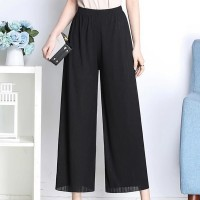 Solid Color Elastic Waist Bell Bottom Trousers - Black