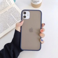 Safe Frame Thin TPU Translucent Matte Back Cover For Mobile Phones - Dark Blue