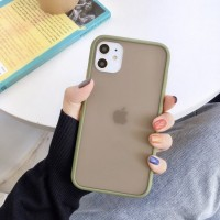 Safe Frame Thin TPU Translucent Matte Back Cover For Mobile Phones - Army Green