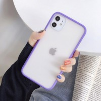 Safe Frame Thin TPU Translucent Matte Back Cover For iPhone Mobile Phones - Purple