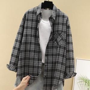 Check Prints Women Casual Wear Fashion Shirt - Gray