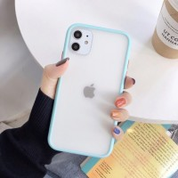 Safe Frame Thin TPU Translucent Matte Back Cover For iPhone Mobile Phones - Light Blue