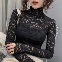 Floral See Through Laced Stand Neck Blouse Top - Black