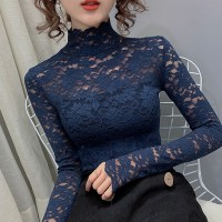 Floral See Through Laced Stand Neck Blouse Top - Blue