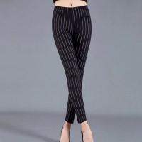 Narrow Bottom Printed Stretchable Trousers Pant - Black