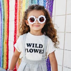 Baby Girls Cute Flower Fashion Kids Sunglasses - White