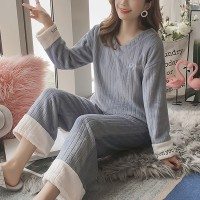 Ribbed V Neck Two Pieces Nightwear Winter Pajama Sets - Blue