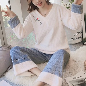 Ribbed V Neck Two Pieces Nightwear Winter Pajama Sets - White