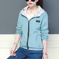 Zipper Closure Sports Wear Women Fashion Hoodie Jacket - Blue