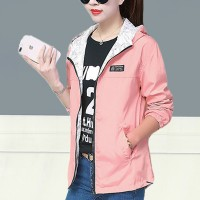 Zipper Closure Sports Wear Women Fashion Hoodie Jacket - Pink
