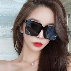Retro Suqre Frame Sunglasses For Women And Men - Black