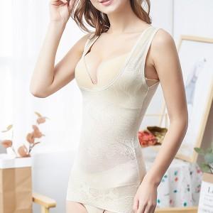 Inner Wear Floral Textured Slim Wear Slimming Vest - Apricot