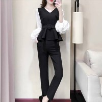 V Neck Lantern Sleeved Two Pieces Vintage Party Suit - Black and White