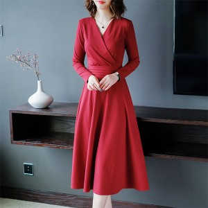 Wrapped Style A-Line Solid Color Dress - Red