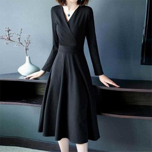 Wrapped Style A-Line Solid Color Dress - Black