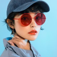 Retro Metal Frame Sunglasses For Women And Men - Red