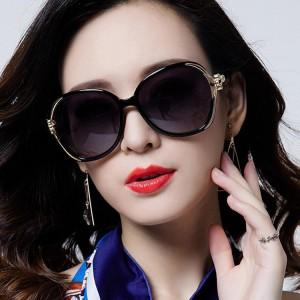 Girls Personality Travel Street Big Frame Sunglasses - Black