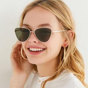 Fashion Metal Retro Frame Sunglasses For Men And Woman - Black Gold