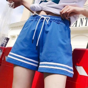String Waist Contrast Solid Color Mini Shorts - Blue