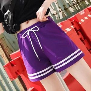 String Waist Contrast Solid Color Mini Shorts - Purple