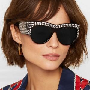 Unisex Full Rhinestone Frame Fashion Sunglasses - Black