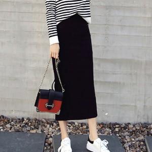 Elastic Waist Straight All Season Women Fashion Skirt - Black