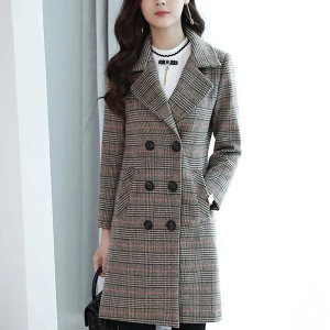 Check Printed Button Up Suit Neck Long Coat - Gray