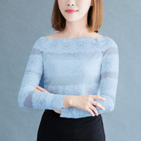 Stretchable Neck Lace Full Sleeved Blouse Top - Blue