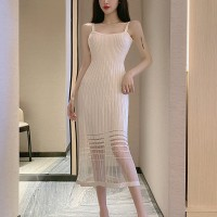 Ribbed A-Line Women Fashion Midi Dress - Apricot