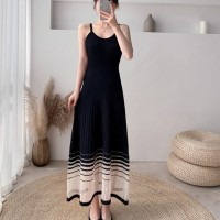 Ribbed A-Line Women Fashion Midi Dress - Black