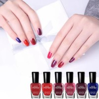 Six Pieces Multicolor Water Resistant Party Special Nail Polish Set - Burgundy Shades