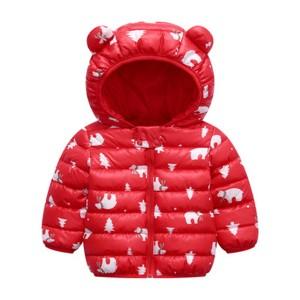 Cute Kids Printed Animal Prints Winter Wear Jacket - Red
