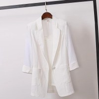 Suit Neck Quarter Sleeved Outwear Jacket - White