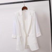 Suit Neck Quarter Sleeved Outwear Jacket - White