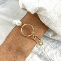 Vintage Simple Metal Paper Clip Pearl Bracelet - Golden